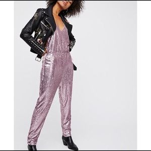 Free People Pink Blush Sequin Jumpsuit